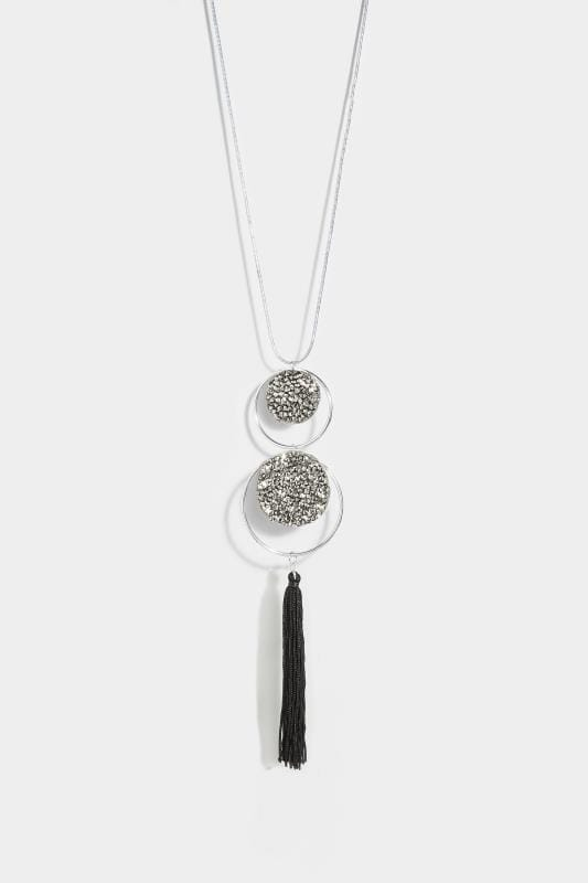 Silver Crystal Tasselled Necklace