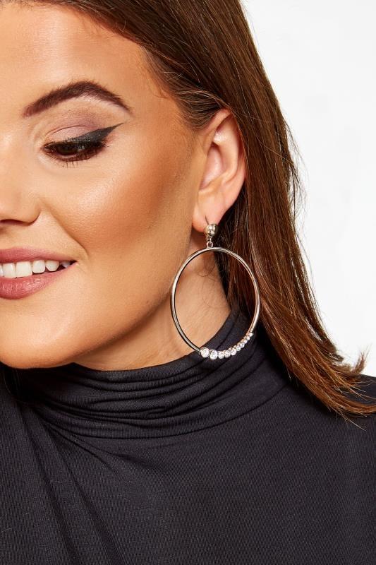 Silver Diamante Drop Hoop Earrings