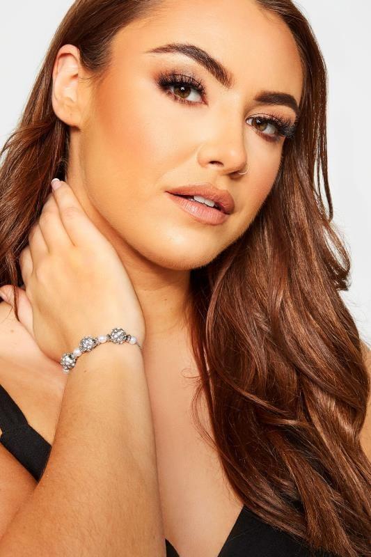 Bracelets Tallas Grandes Silver Diamante Ball Charm Bracelet
