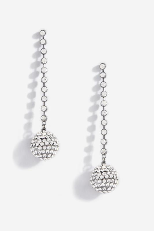 Ohrringe mit Strass-Kugel - Silberfarben