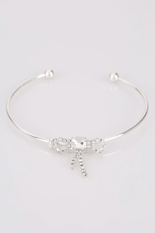 Silver Diamante Bow Bracelet