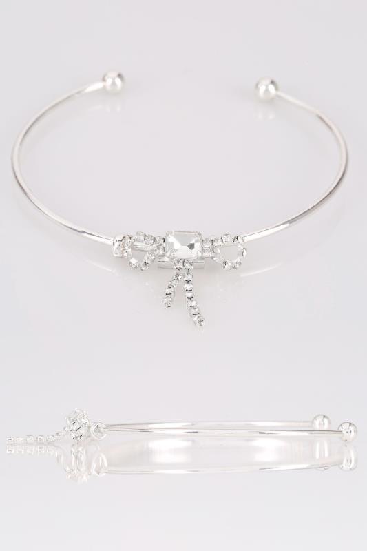 Plus Size Jewellery Silver Diamante Bow Bracelet