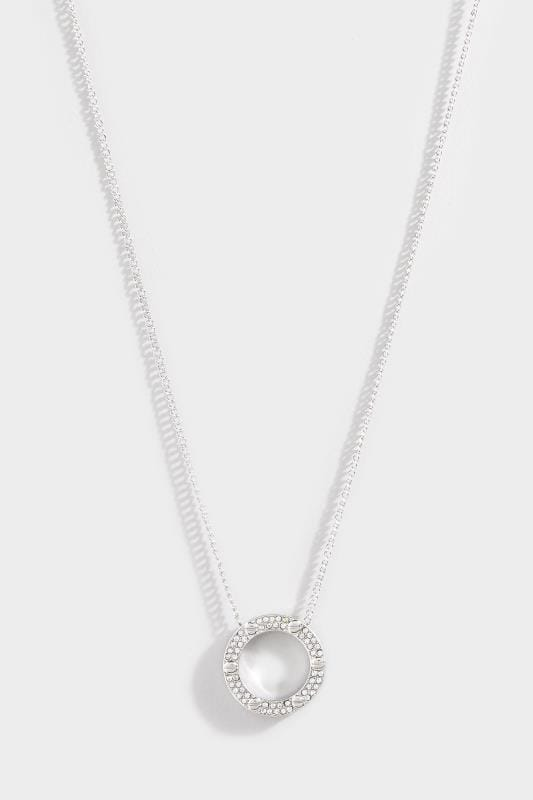 Silver Diamante Circle Charm Necklace