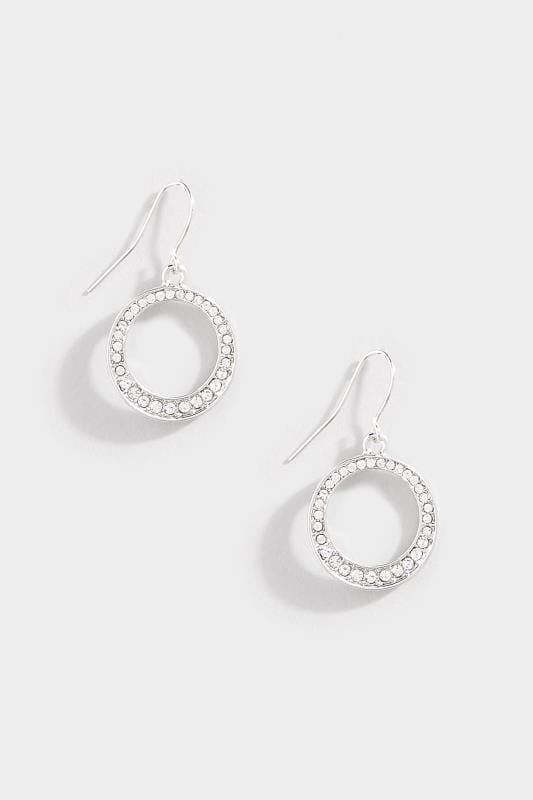 Silver Diamante Circle Drop Earrings