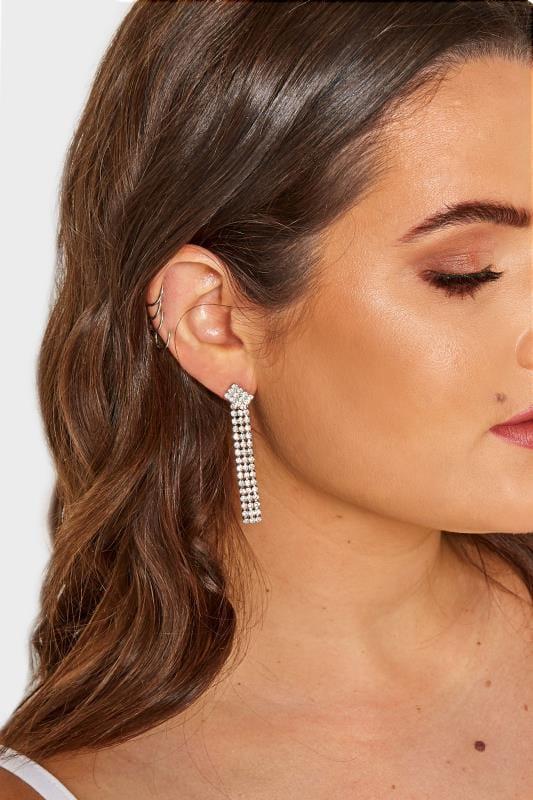 Silver Diamante Drop Tassel Earrings