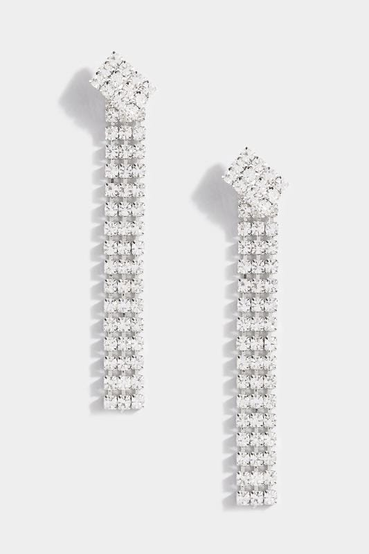 Silver Diamante Drop Tassel Earrings