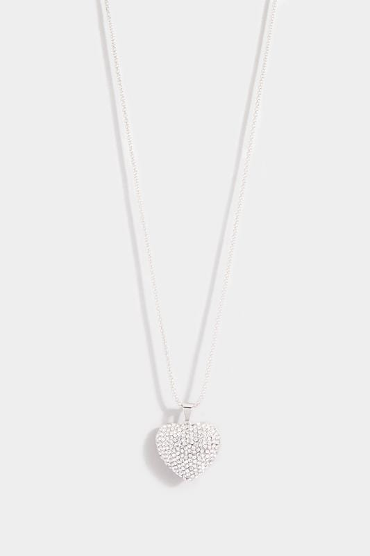 Silver Diamante Heart Pendant Long Necklace