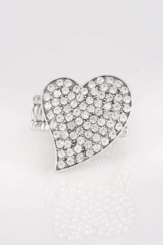 Anillo plateado ajustable corazón diamante