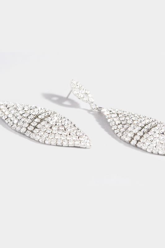 Silver Diamante Leaf Shaped Drop Earrings