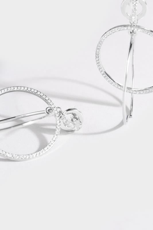 Silver Diamante Double Hoop Earrings