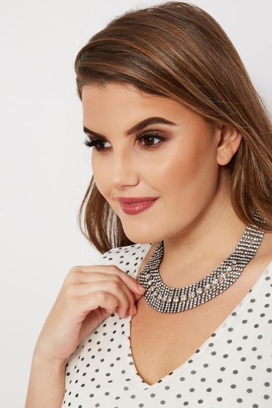 Plus Size Jewellery Silver Diamante Necklace