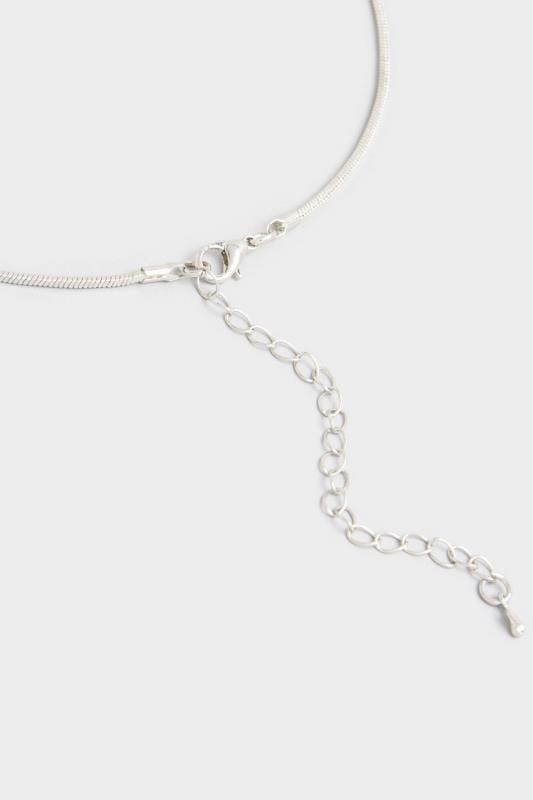 Silver Diamante Oval Pendant Necklace
