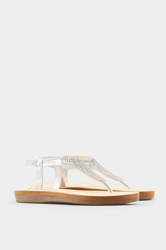 Silver Diamante Sandals In Extra Wide Fit