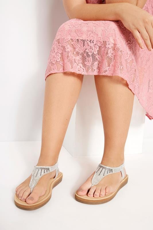 Wide Fit Sandals Silver Diamante Sandals In Extra Wide Fit