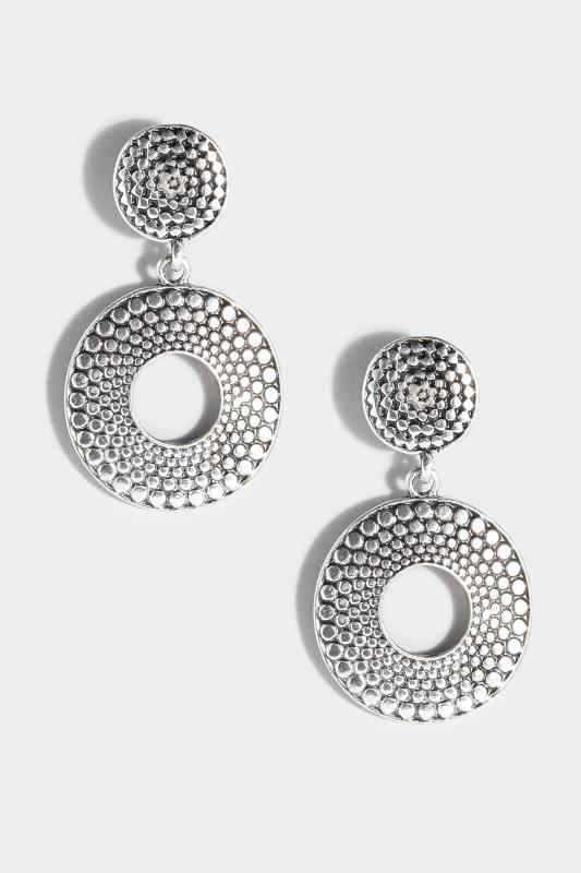Scheibenförmige Hänge-Ohrringe - Silberfaben