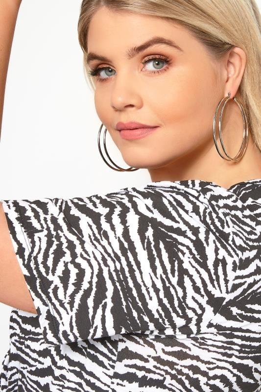 Plus Size Jewelry Silver Double Hoop Earrings