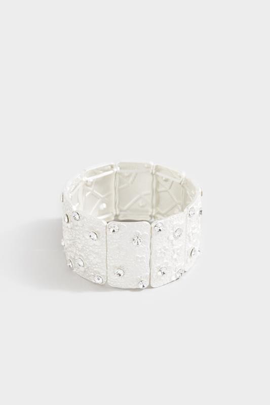 Silver Floral Diamante Cuff Bracelet