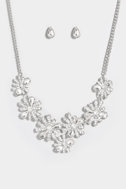 Zilverkleurige halsketting met bloemen & studs