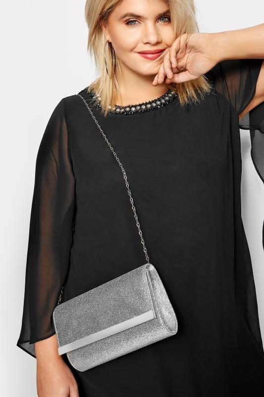Taschen & Portemonnaies Clutch Bag mit Glitzerdruck - Silber