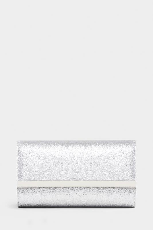 Clutch Bag mit Glitzerdruck - Silber