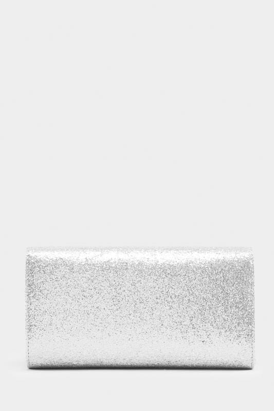 Silver Glitter Fold Over Clutch Bag