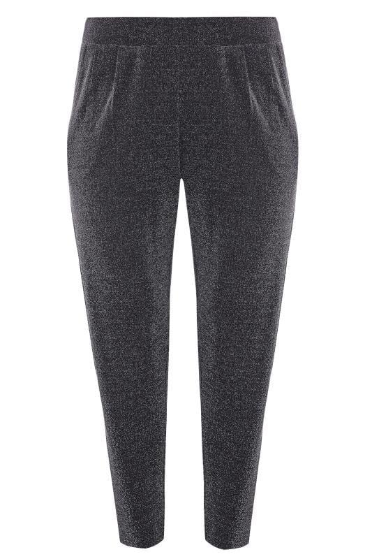 Spodnie haremki dla puszystych Silver Glitter Harem Trousers
