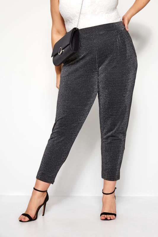 Большие размеры | Harem Trousers Silver Glitter Harem Trousers