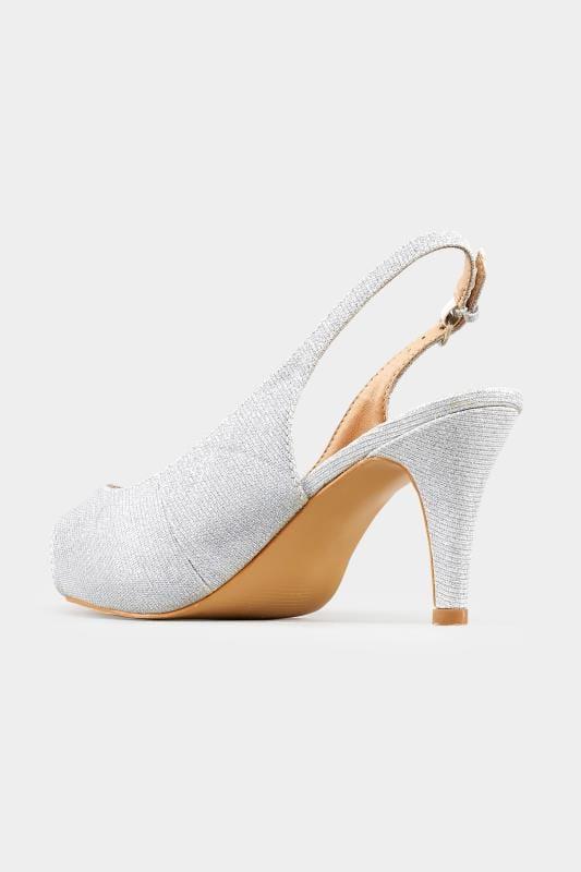 Silver Glittery Peep Toe Sling Back Heels In Extra Wide Fit