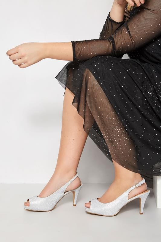 Plus Size Heels Silver Glittery Peep Toe Sling Back Heels In Extra Wide Fit