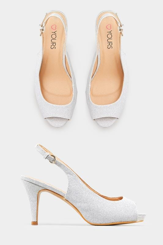 buy popular a9e38 c4f63 Silber-glitzernde Peep-Toes mit weiter Passform EEE Fit