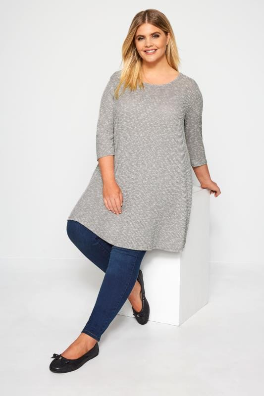 Silver Grey Marl Ribbed Tunic Top