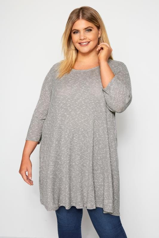 Plus Size Jersey Tops Silver Grey Marl Ribbed Tunic Top