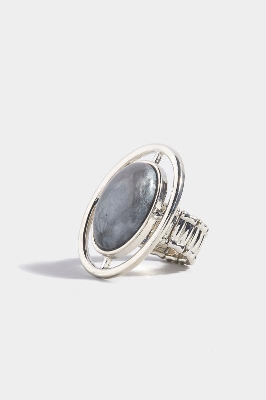 Ring mit Zierstein - Grau