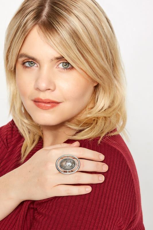 Silver & Grey Shield Resin Ring