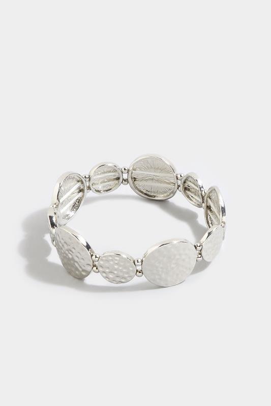 Silver Hammered Disc Bracelet