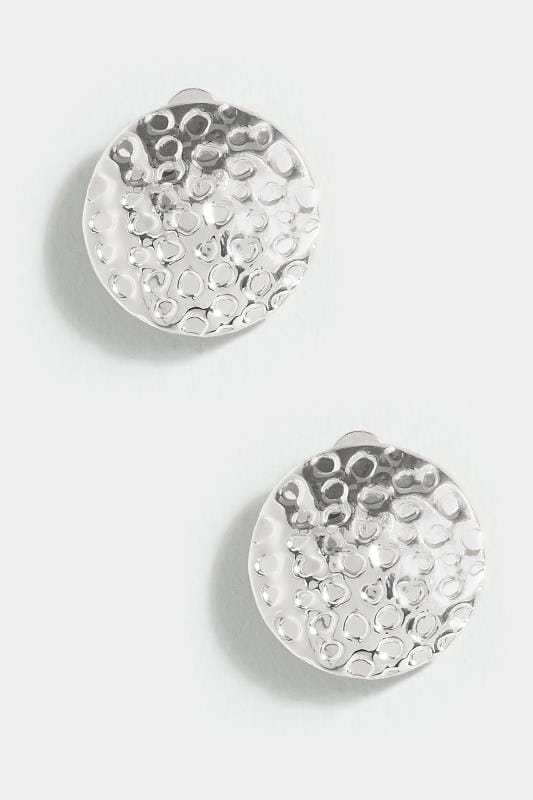 Silver Hammered Metal Rounded Clip On Earrings