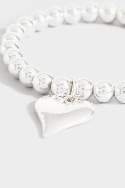 Silver Beaded Bracelet With Heart Pendant
