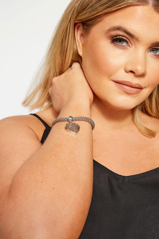 Большие размеры | Jewellery Silver Heart Charm Bracelet