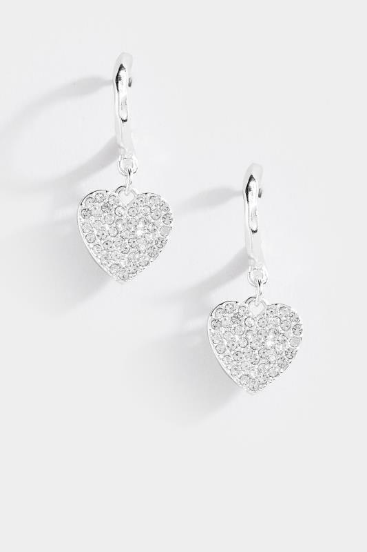 Runde Ohrringe mit Herzen - Silberfarben, Einheitsgröße