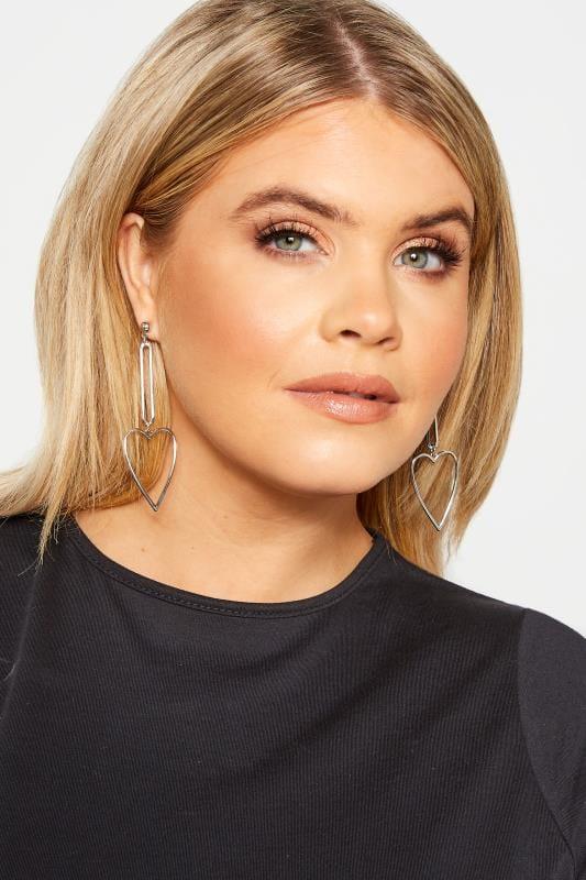 Plus Size Jewellery Silver Heart Drop Earrings