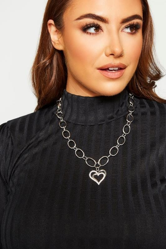 Plus Size Jewellery Silver Heart Pendant Chunky Necklace