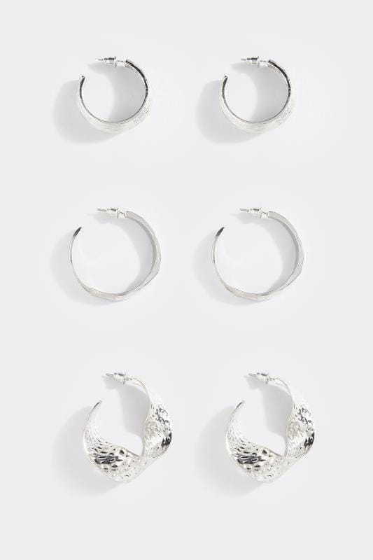 3 PACK Silver Textured Hoop Earrings Set