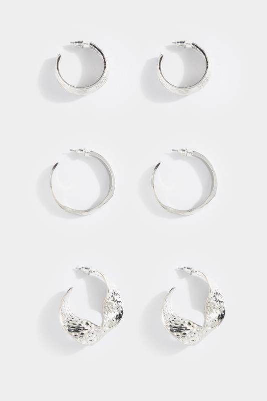 3 PACK Silver Textured Hoop Earrings Set