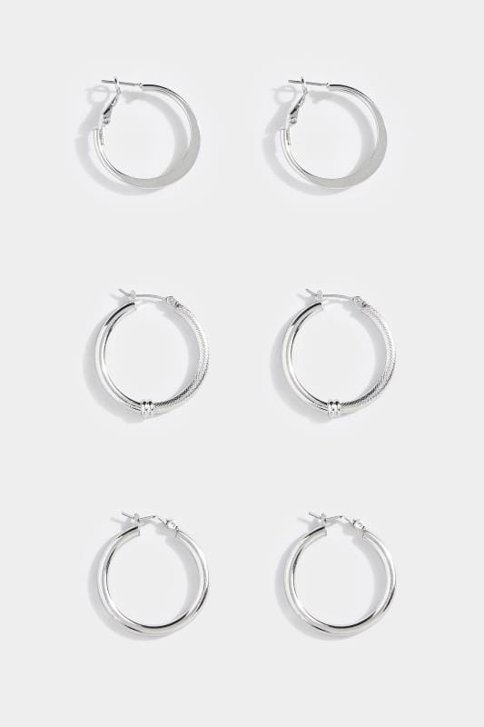 3 PACK Silver Hoop Earrings Set