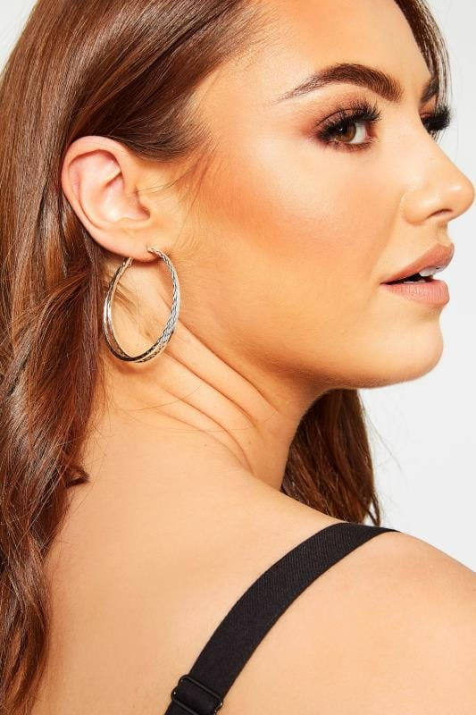 Plus Size Jewellery Silver Large Textured Twisted Hoop Earrings