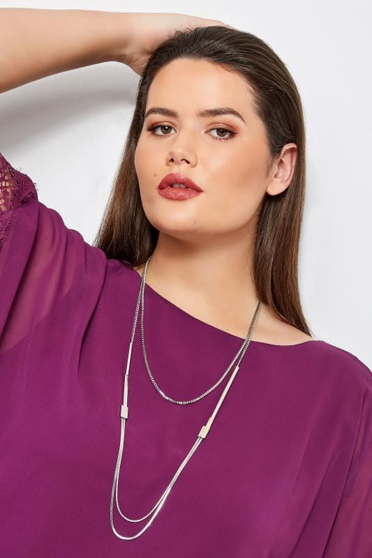 Plus Size Jewellery Silver Layered Chain Necklace