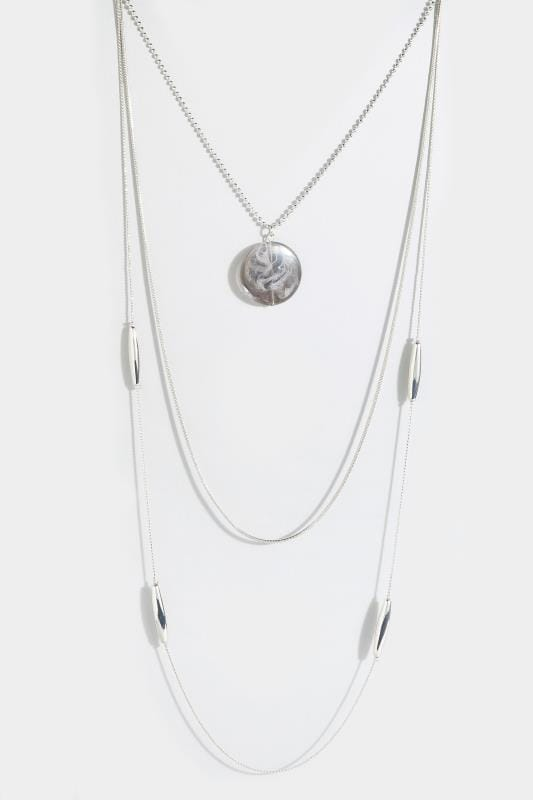 Silver Layered Pendant Necklace
