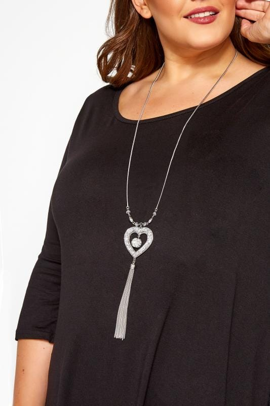 Plus Size Jewellery Silver Long Heart Tassel Necklace