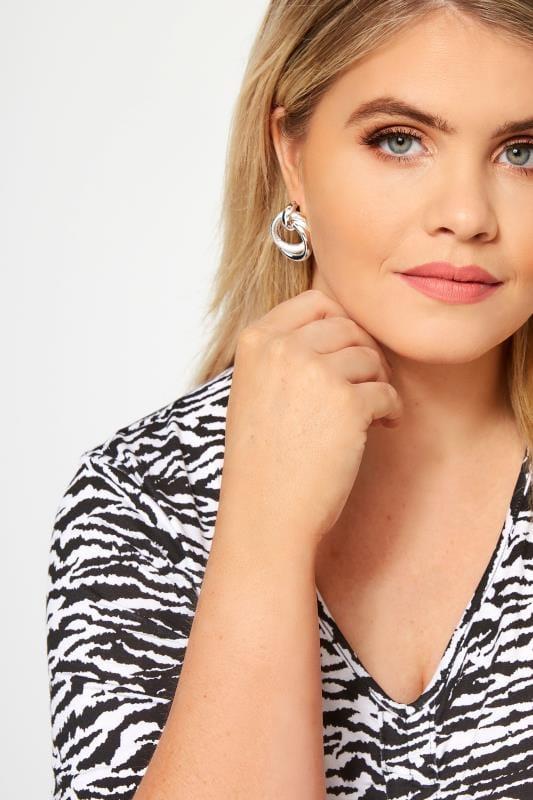Plus Size Jewellery Silver Looped Earrings
