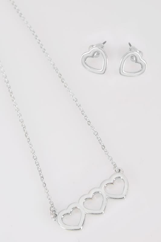 Silver Love Heart Necklace & Earring Set